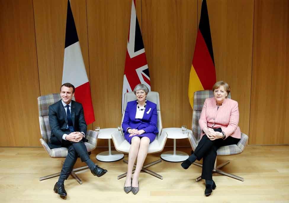 Theresa May with Emmanuel Macron and Angela Merkel at the European Council summit, 22 March