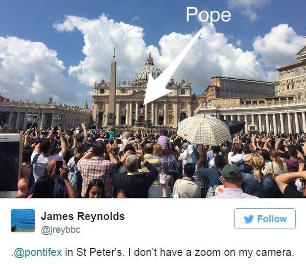 BBC Rome correspondent James Reynolds tweets picture of Pope in the distance