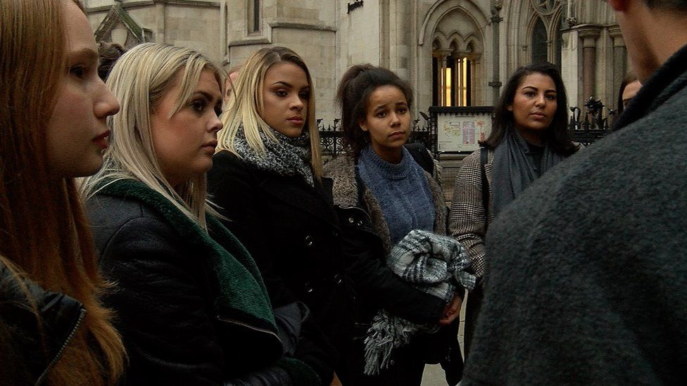 The students outside the Court of Appeal