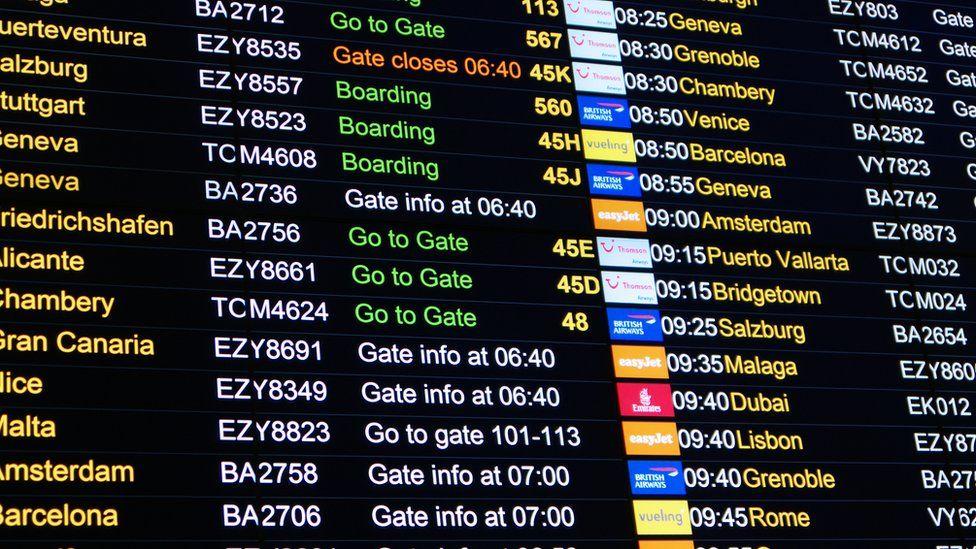 departure board showing European flights