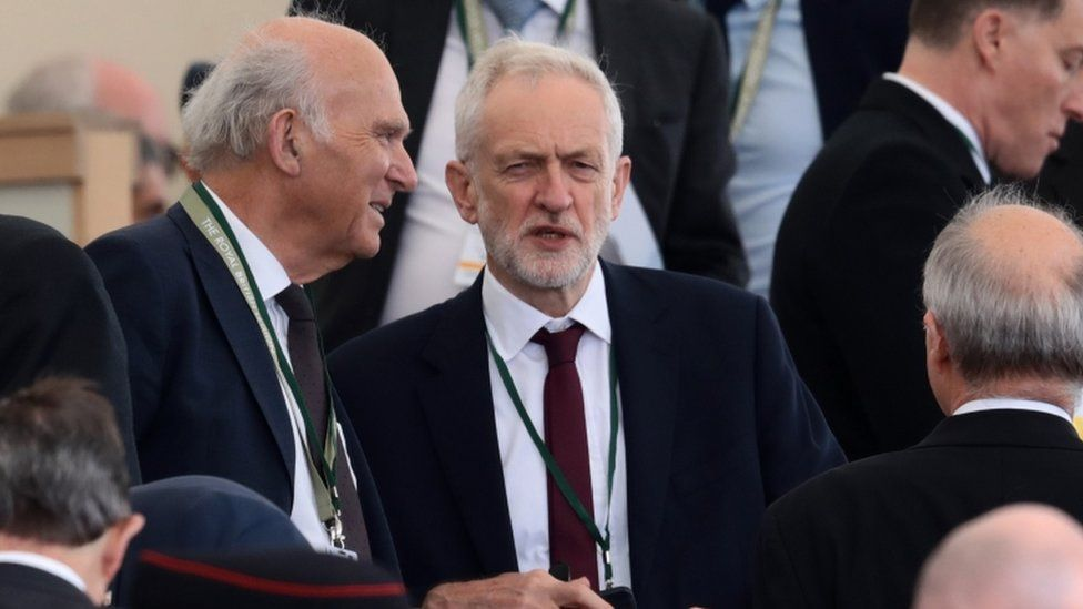 Liberal Democrat leader Sir Vince Cable and Labour leader Jeremy Corbyn
