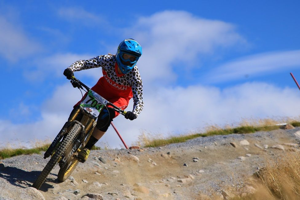 local rider Fiona Beattie taking on the tough World Cup track