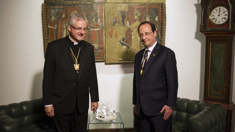The Spanish Bishop of Urgell (l) and the president of France (r) were Andorra's co-princes and heads of state