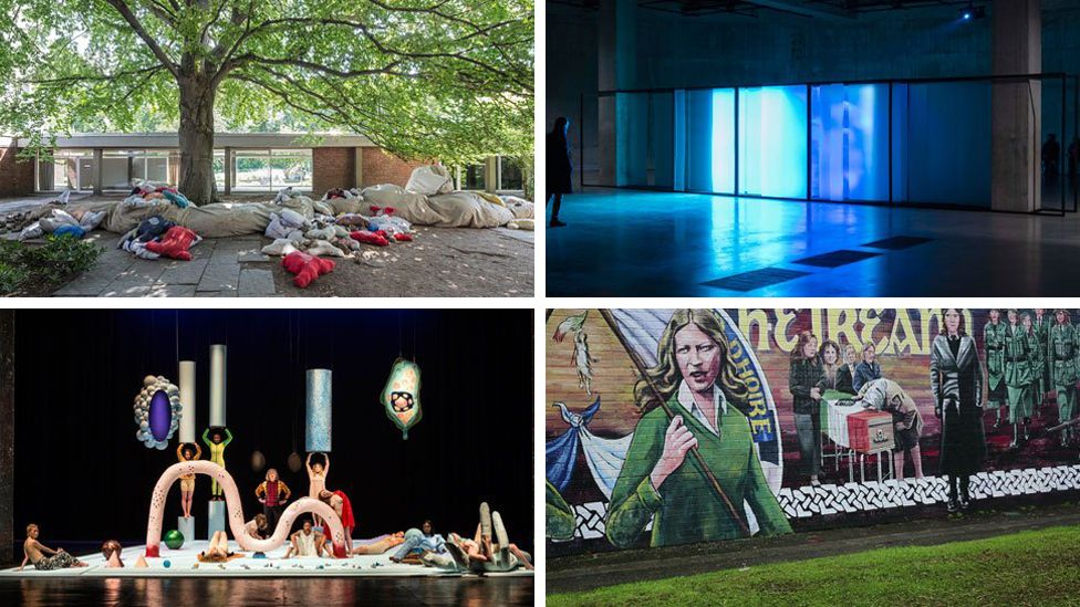 Collective Conscience 2018 by Oscar Murillo, Walled Unwalled 2018 by Lawrence Abu Hamdan, The Long Note 2018 by Helen Cammock, DC Semiramis, 2018 by Tai Shani
