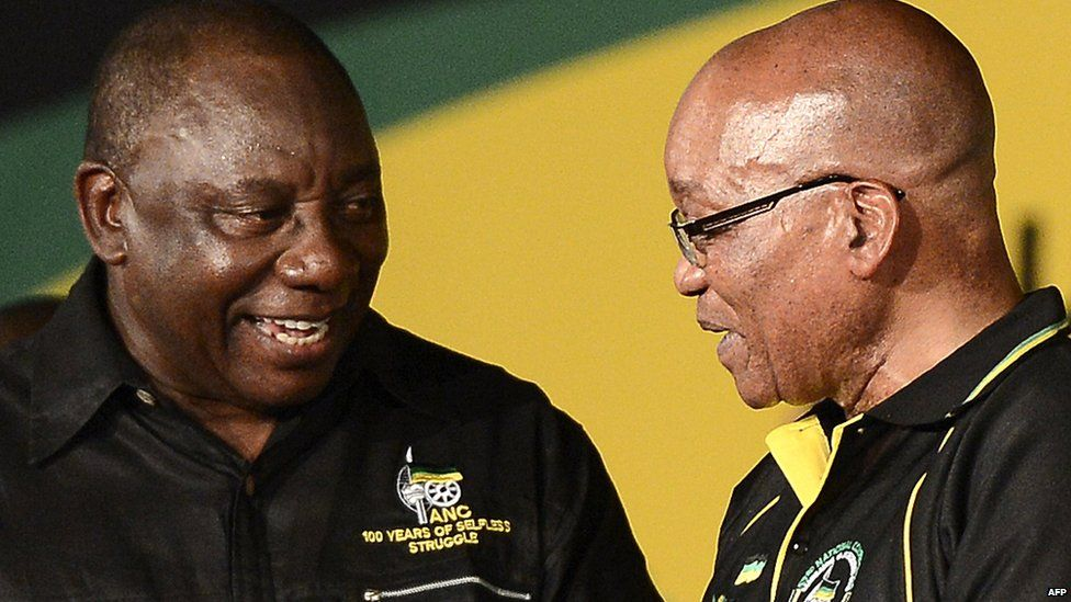 South African President and new re-elected African National Congress (ANC) president Jacob Zuma (R) talks with newly elected deputy president of the party Cyril Ramaphosa during the 53 rd National Conference of the ANC on December 18, 2012 in Bloemfontein