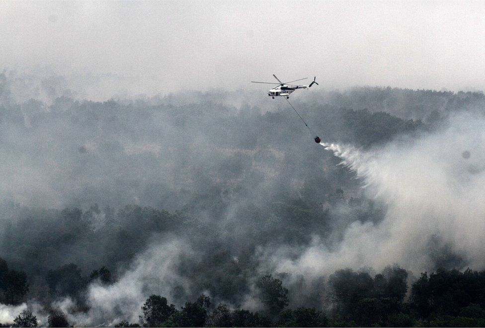 An Indonesian national board for disaster management MI-17 helicopter water-bombs a fire spot over Ogan Komering Ilir area, in South Sumatra province, on 17 October 2015