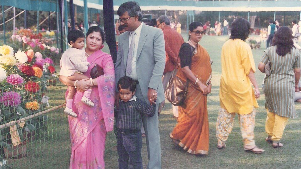 Ramanuj Basu as a young boy in India with his family