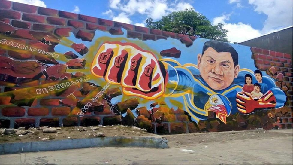 Duterte drawings, murals and memes were shared widely online