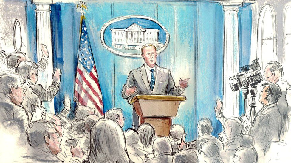 Sketch by Bill Hennessy of Sean Spicer at a White House press briefing