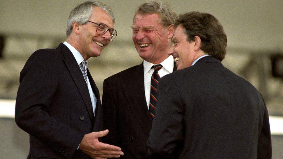 Paddy Ashdown with Tony Blair and Sir John Major