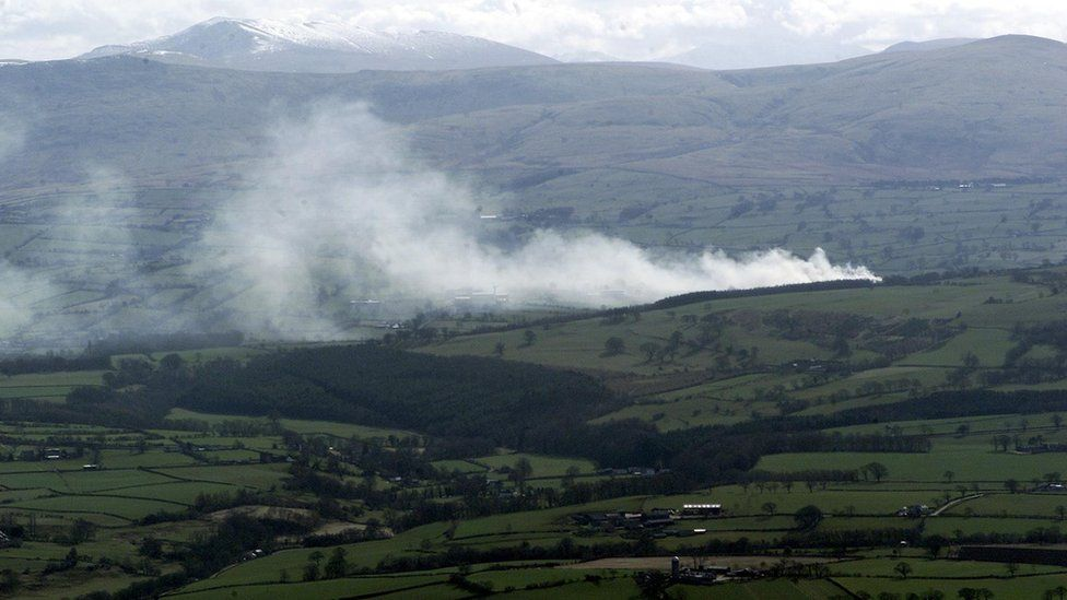 Smoke from a pyre in Cumbria