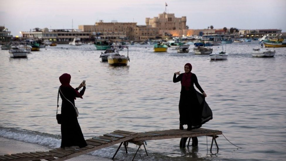 On the seafront in Alexandria, Egypt, it was time for a few snaps on Sunday.