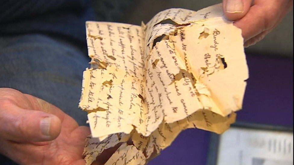 The letter with bullet holes found on the body of Haydn Gwion Morris