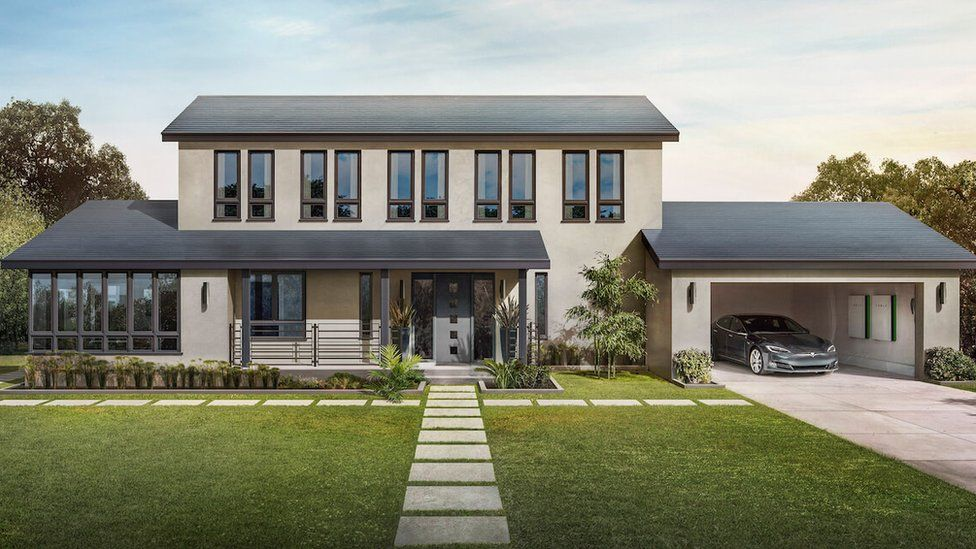 Graphic of home with solar roof tiles, electric cars and wall-mounted storage batteries