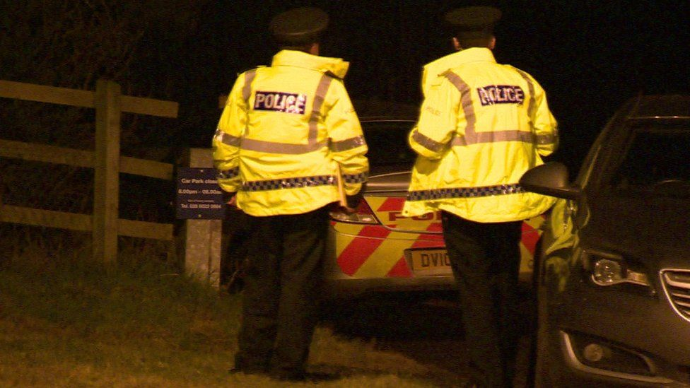 Police at the scene of the incident on Sunday evening
