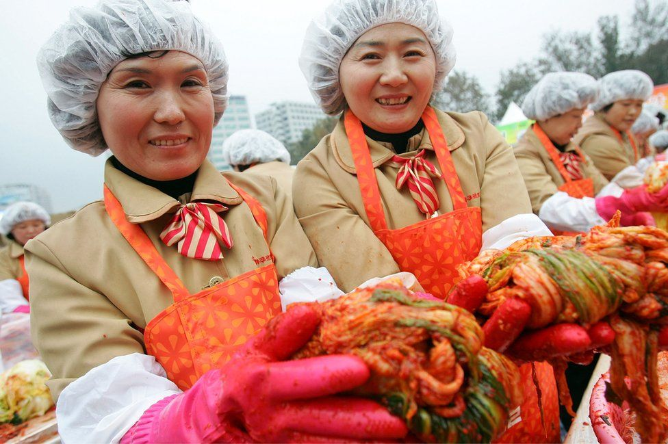 South Korean housewives with kimchi
