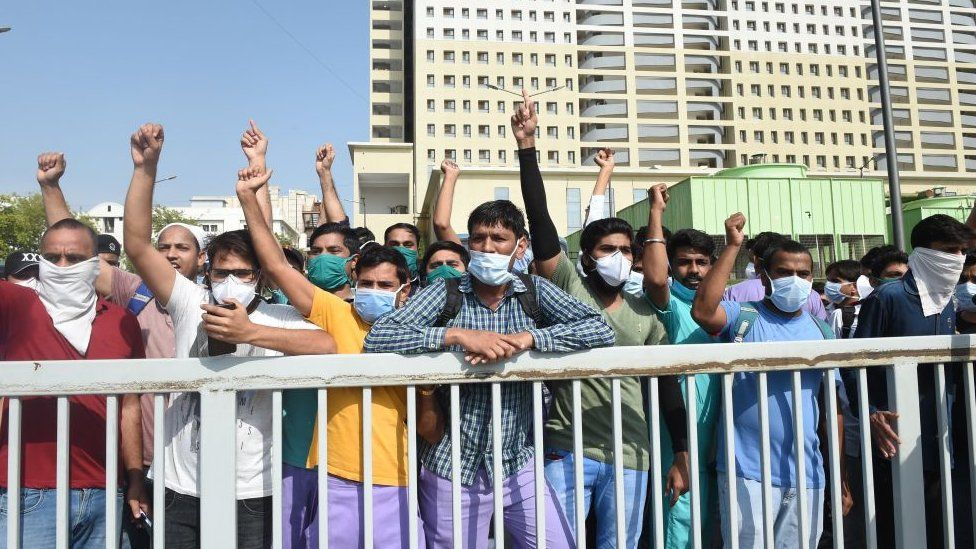 Nursing staff under private contract at a protest