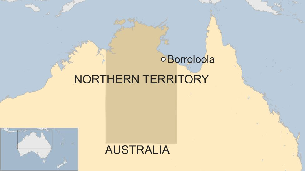 Map of Australia, showing the Northern Territory town of Borroloola