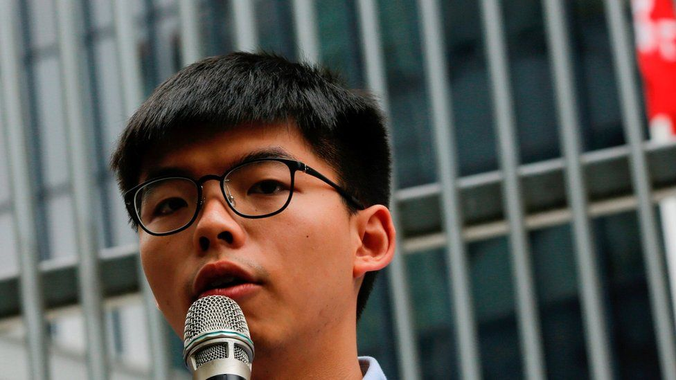 Pro-democracy activist Joshua Wong speaks to journalists after being disqualified from running in the local district's council elections in November, in Hong Kong, China October 29, 2019.