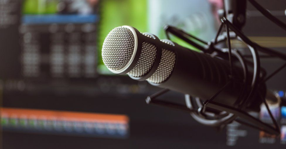 Radio microphone in a studio