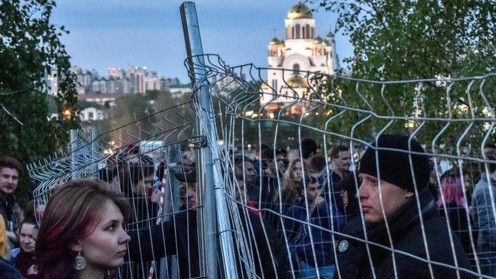 Protesters in Yekaterinburg
