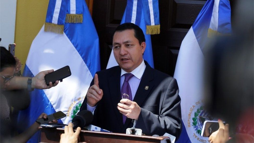 President of the Legislative Assembly of El Salvador, Mario Ponce, offers a press conference in San Salvador, El Salvador, 10 February 2020.