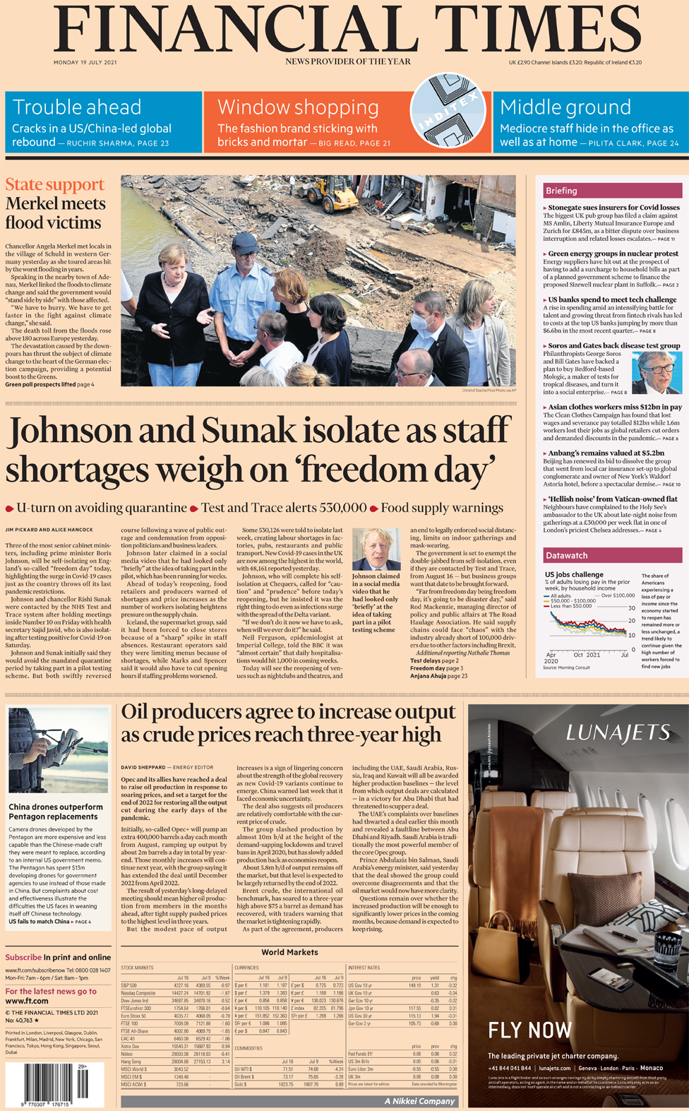 The Financial Times front page 19 July 2021