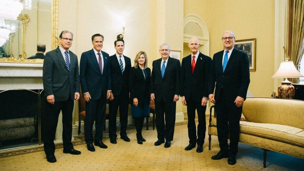 Rick Scott (second from right) stood for photos with the incoming Republicans senators in Washington