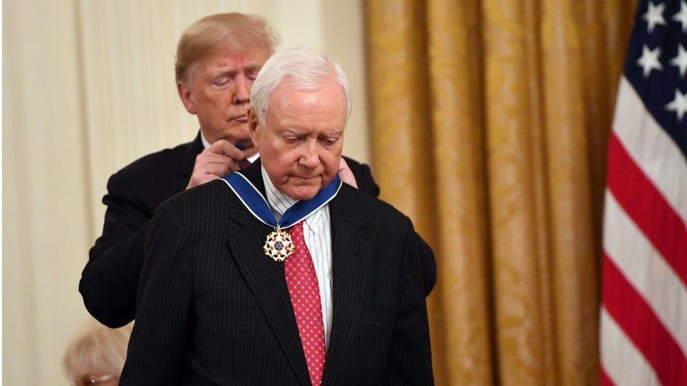 US President Donald Trump awards the Presidential Medal of Freedom to retiring Utah US Senator Orrin Hatch at the White House