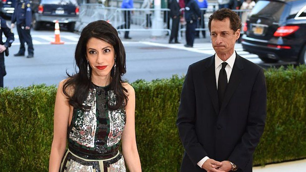 Anthony Weiner looks at Huma Abedin during a charity event in May 2016