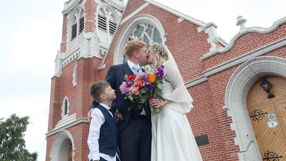 Paddy and Rebecca Smyth finally tied the knot on the fourth attempt at Cregagh Presbyterian church in east Belfast