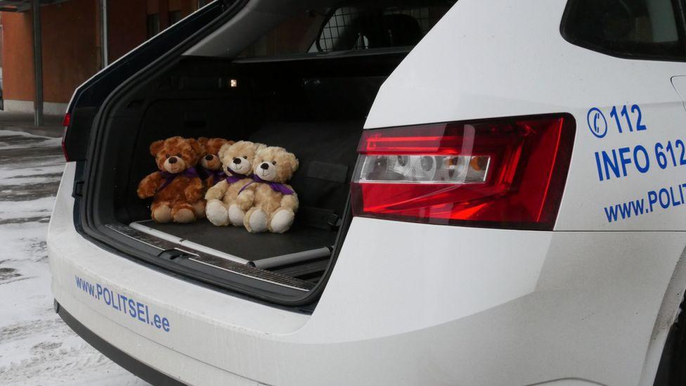 Trauma teddy bears in Estonian police car