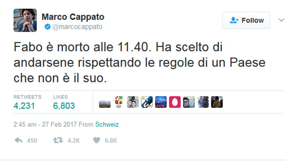 Tweet from the account of Marco Cappato