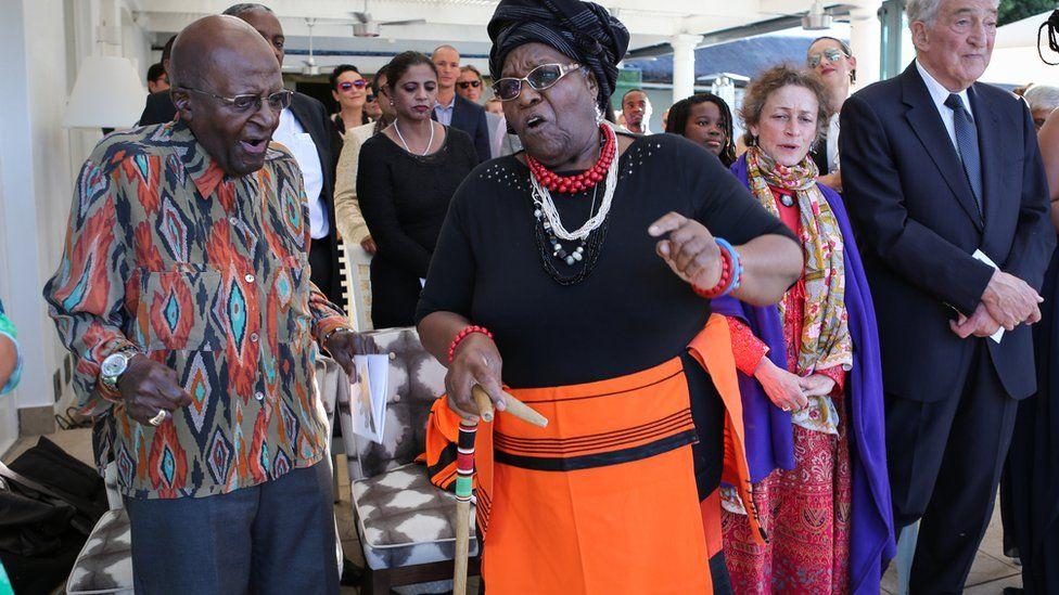 Desmond Tutu celebrating at his daughter's wedding