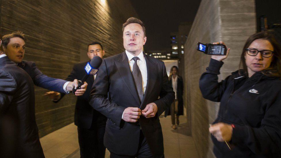Elon Musk leaving court in LA