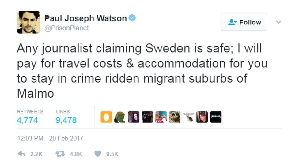 """@PrisonPlanet tweeted: """"Any journalist claiming Sweden is safe; I will pay for travel costs & accommodation for you to stay in crime ridden migrant suburbs of Malmo""""."""