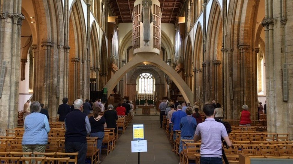 The congregation followed social distancing rules at Llandaff cathedral as they attended Sunday service