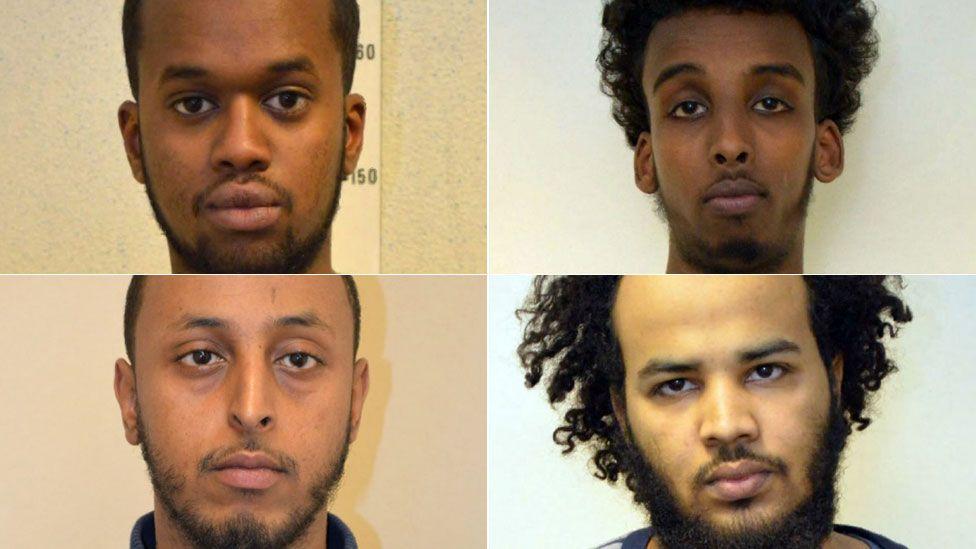 (Clockwise from top left) Sakaria Aden, Mohamed Dahir, Yasser Abukar, Mohammed Sharif Abokar