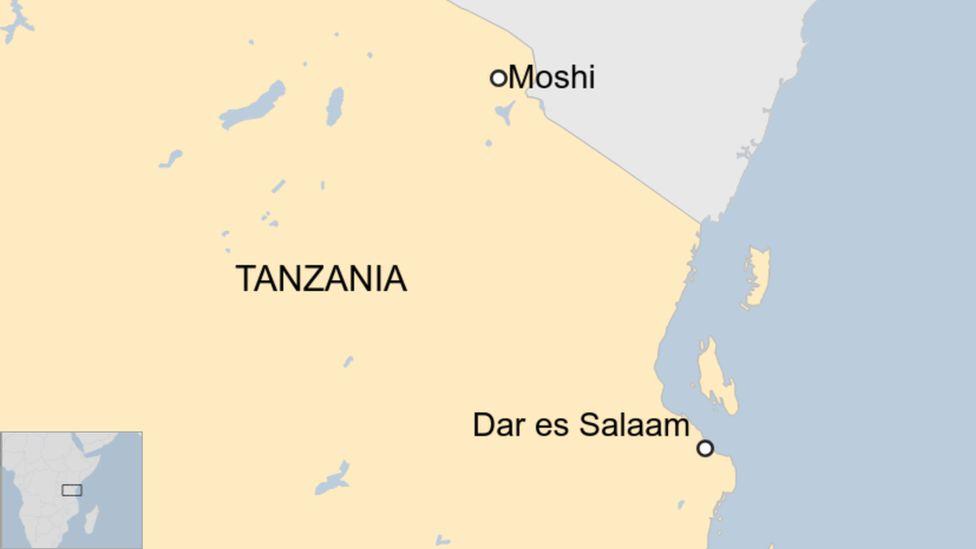 A map showing Moshi in Tanzania