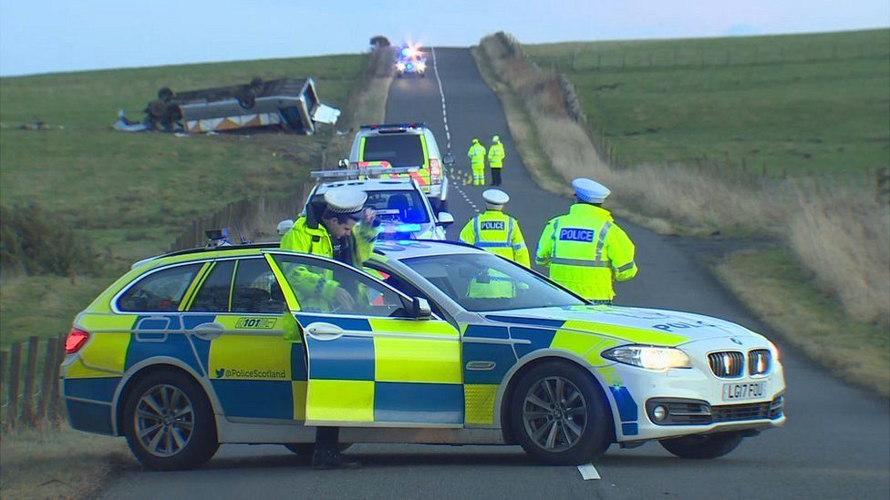 Police presence at minibus crash in Scottish Borders