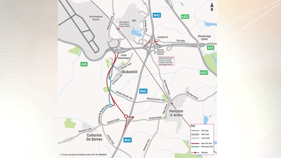 A map of the planned improvements