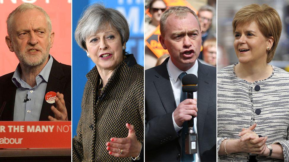 Jeremy Corbyn, Theresa May, Tim Farron and Nicola Sturgeon