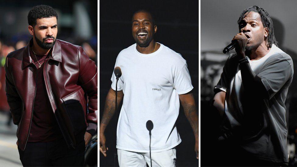 Drake, Kanye West and Pusha T