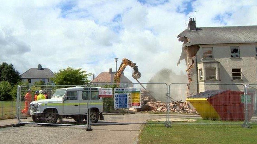 Houses being demolished