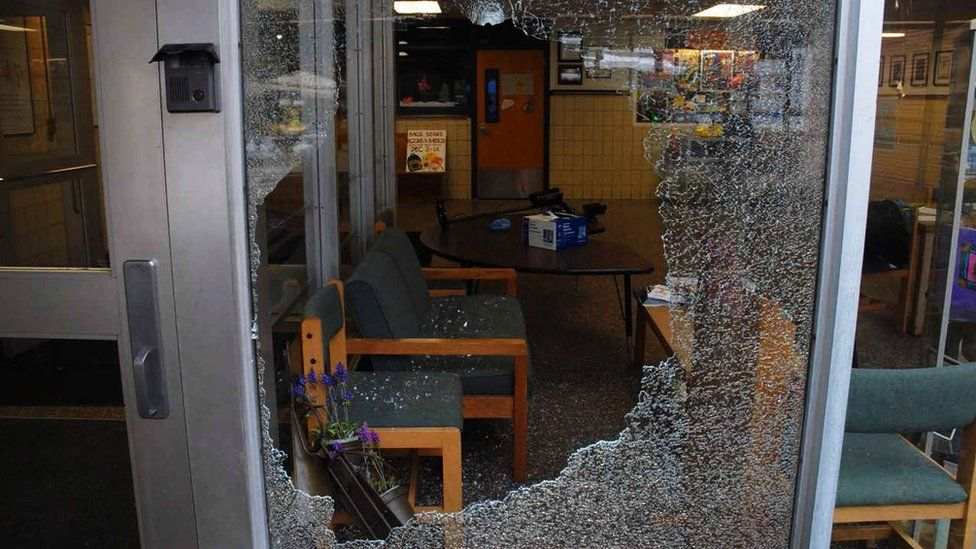 Police image shows window show through at Newtown school
