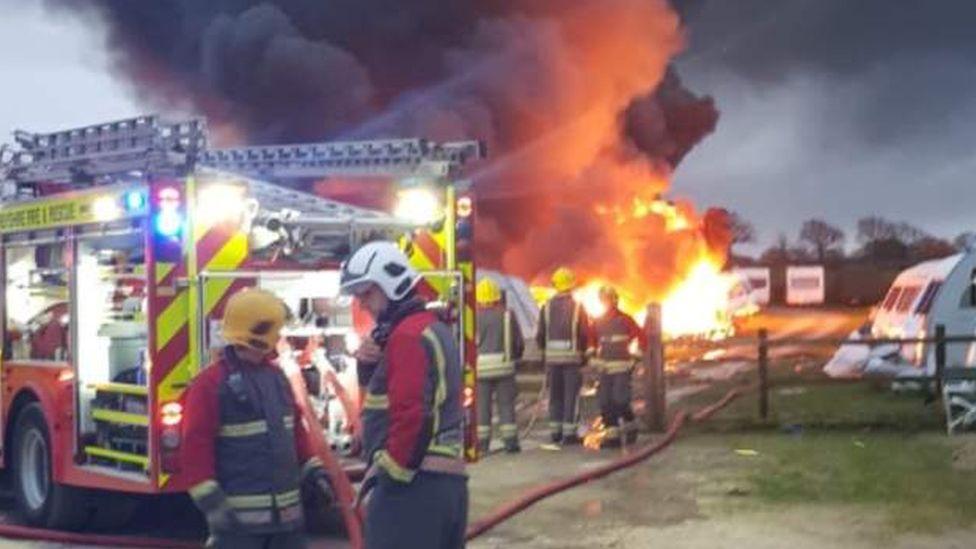 Fire at caravan park
