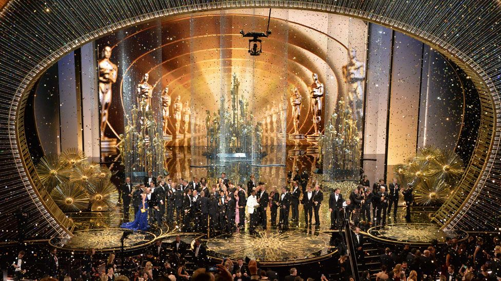Winners on stage at the Oscars