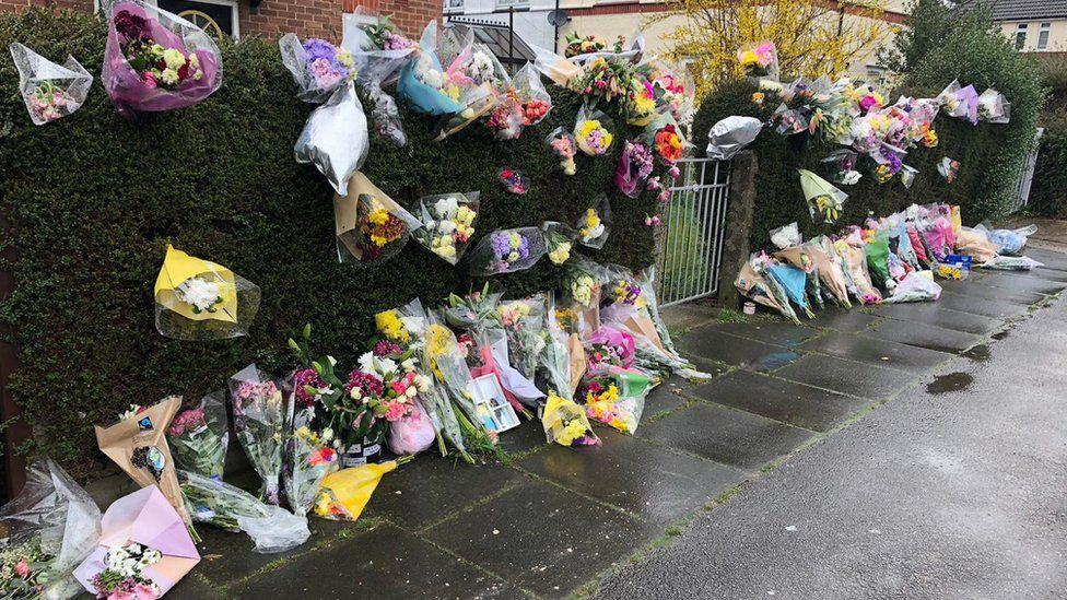 Flowers outside Swinburne Road, Ipswich