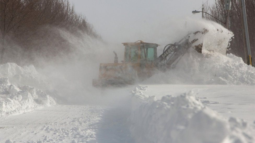 Snow plough in Buffalo, New York