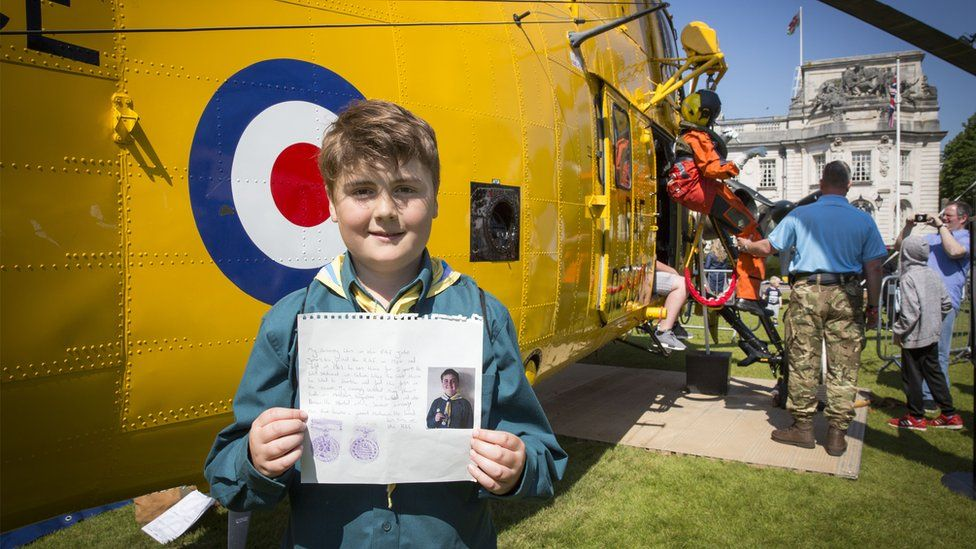 Harrison John James from the 1st St Mellons Scouts in Cardiff wanted to tell people at the RAF100 Aircraft Tour in Cardiff about his grandad, John James, who served in the RAF during the 1960s.